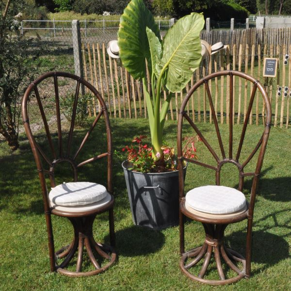 Paire de fauteuils de style exotique