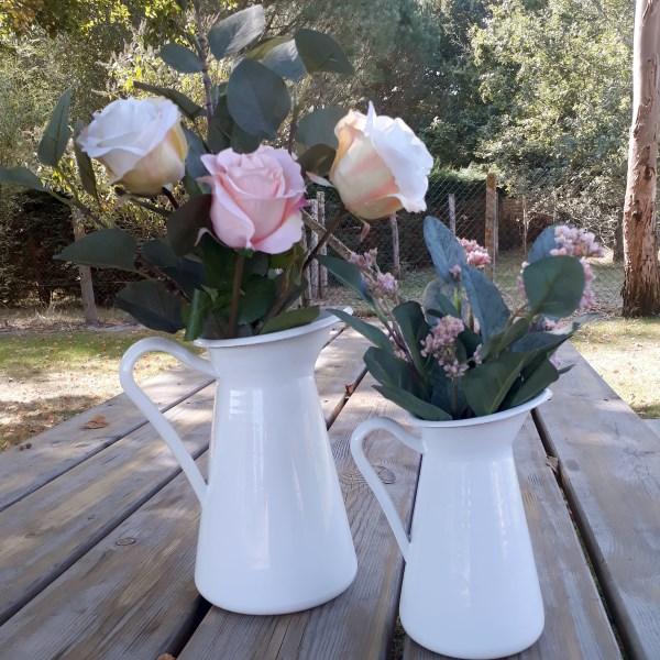 Lot De 2 Vases émaillés Blancs