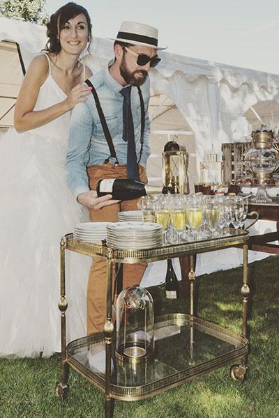 Desserte en laiton rétro (mariage en Gironde)