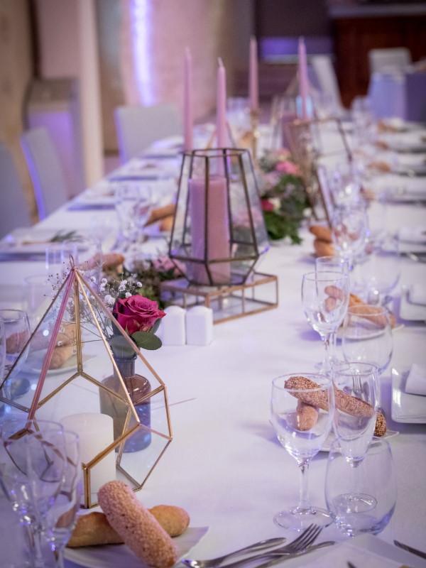 Terrariums sur la table d'honneur