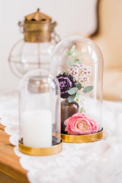 cloche en verre de décoration de mariage
