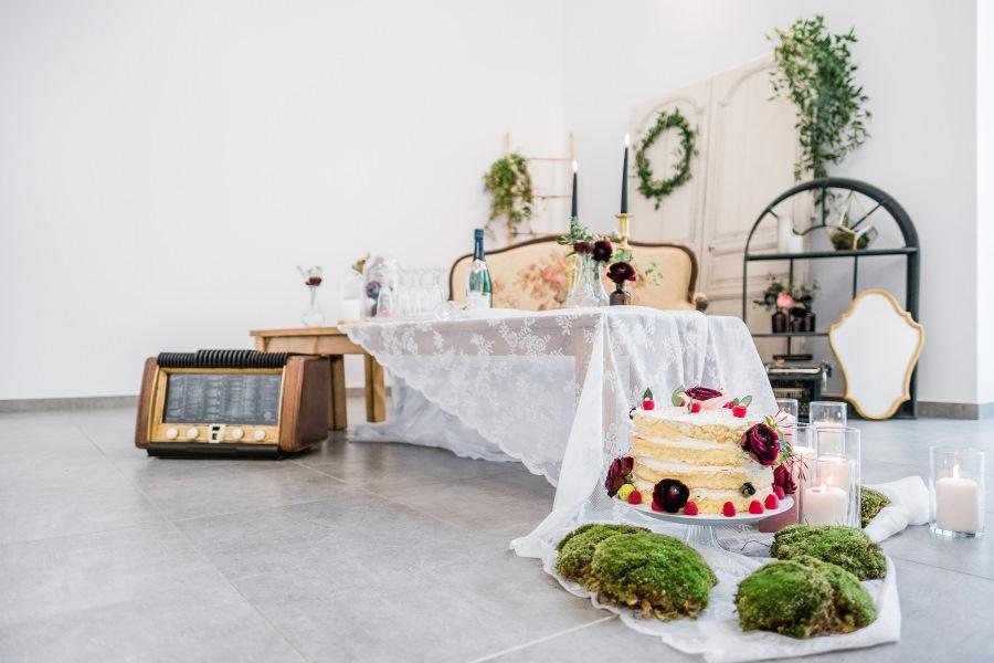 nudecake et décoration romantique
