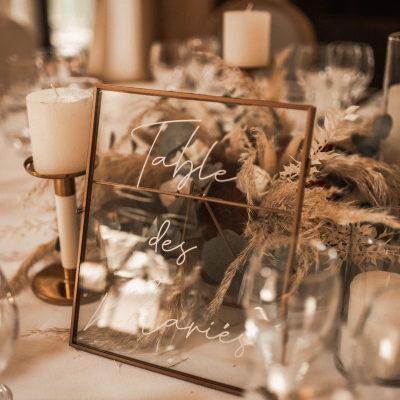 Cadre en métal et verre pour numéro de table