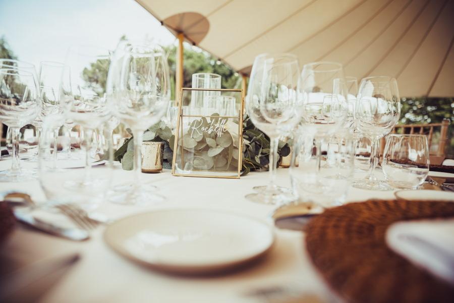 Cadre numéro de table en laiton et verre