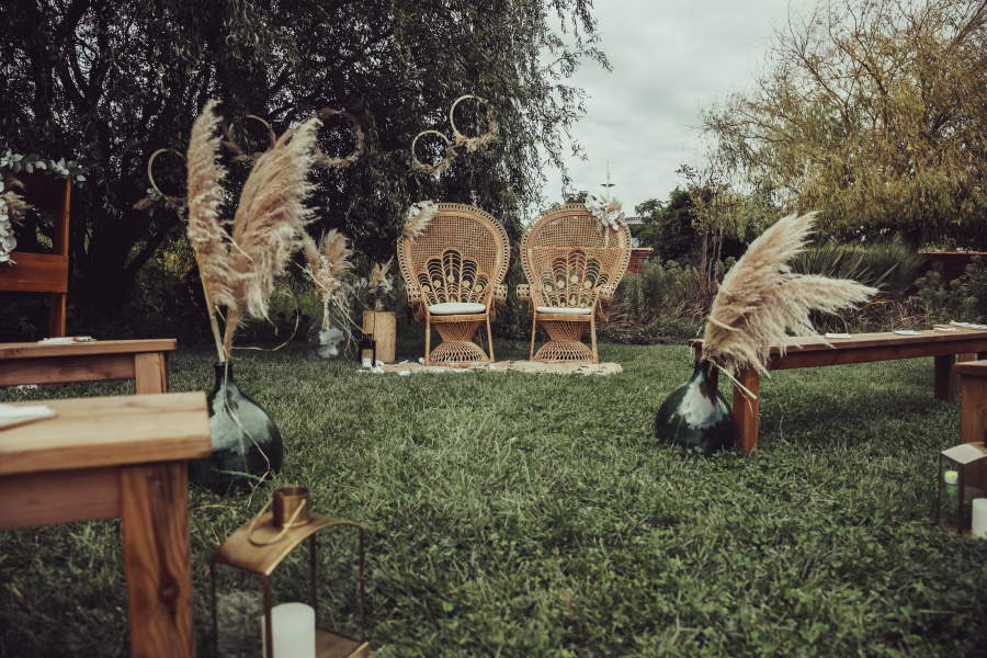 Mariage Bohème et herbe de pampa