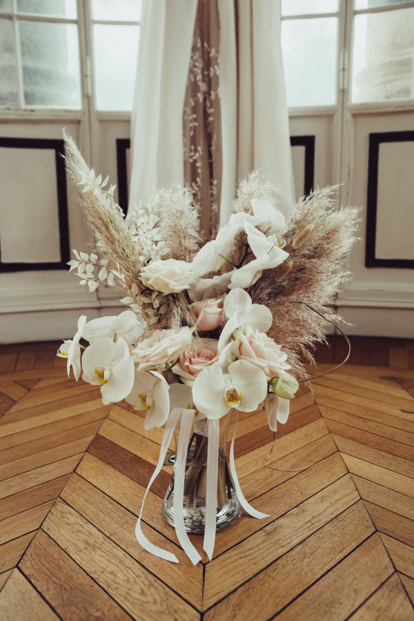 Bouquet de mariée en pampa