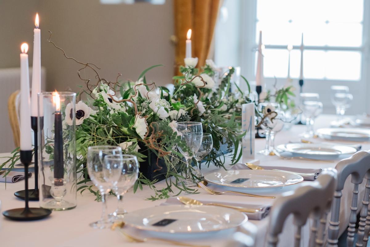 décoration de mariage noir et blanc