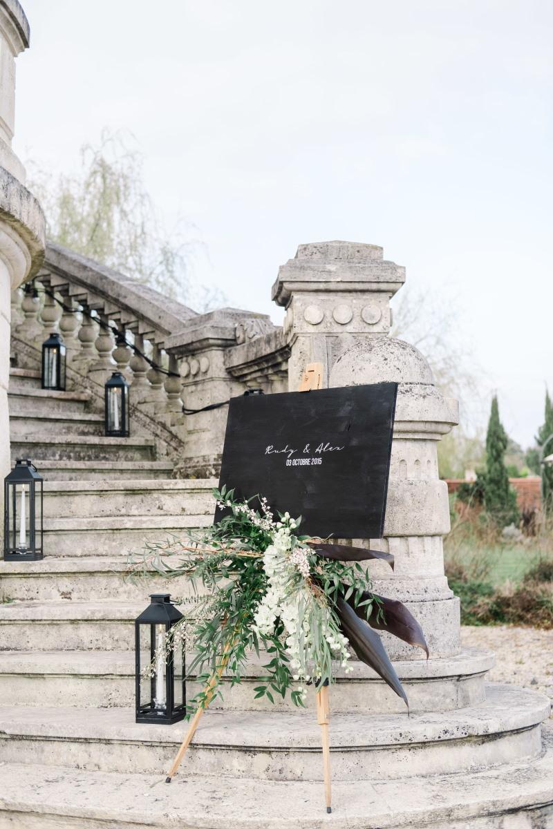 Panneau de bienvenue de Mariage noir