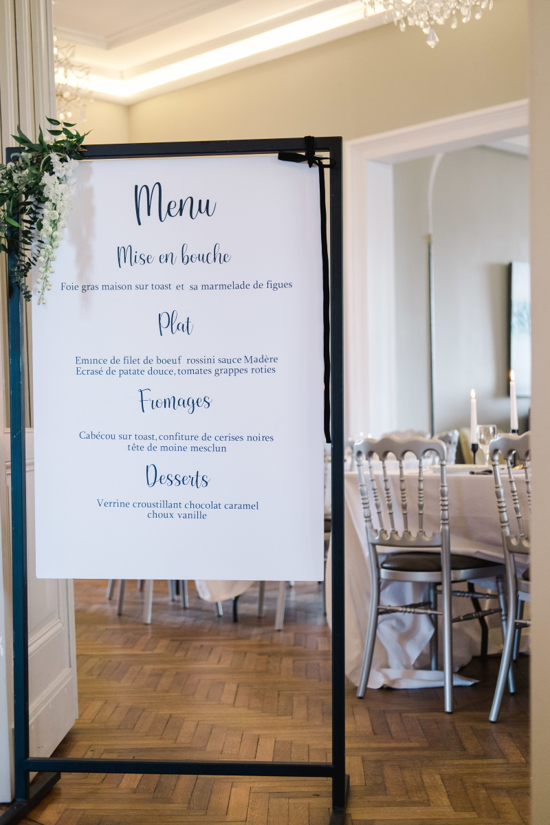 Pancarte panneau menu mariage